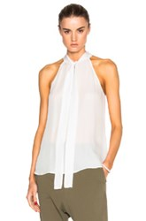 Nili Lotan Halter Tie Neck Top In White