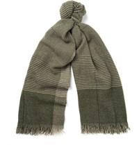 Begg And Co Kishorn Patterned Cashmere Scarf Army Green
