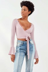Out From Under Shea Wrap Around Long Sleeve Top Lavender