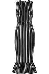 Opening Ceremony Lotus Striped Textured Jersey Dress Black