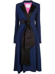 Carolina Herrera Bow Embellished Coat Blue