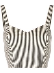 Alice Olivia Striped Bralette Top Nude And Neutrals