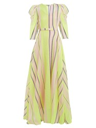 Vika Gazinskaya Puff Sleeved Striped Organza Gown Yellow Multi