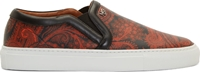 Givenchy Brown And Orange Leather Paisley Slip On Sneakers
