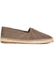Dolce And Gabbana Woven Espadrilles Grey