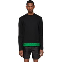 Prada Black And Green Wool Sweater