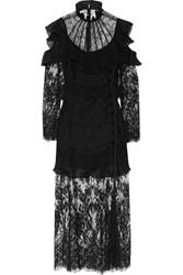Alessandra Rich Cutout Ruffled Chantilly Lace Gown Black