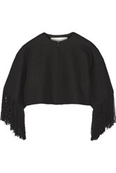 Adam By Adam Lippes Cropped Fringed Linen And Cotton Blend Tweed Jacket Black