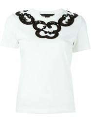 Marc By Marc Jacobs Sequinned Neck T Shirt White
