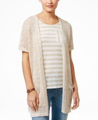 G.H. Bass And Co. Short Sleeve Open Front Cardigan Sandy Combo