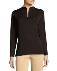 Ming Wang Zip Neck Long Sleeve Knit Shell Top Brown