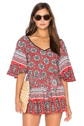 Band Of Gypsies Short Sleeve V Neck Blouse Red