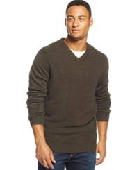 Weatherproof Textured V Neck Sweater Dark Green Heather