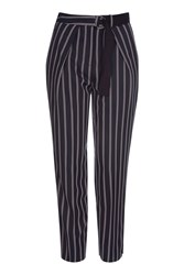 Topshop Striped Belted Peg Trousers Multi