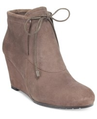 Easy Spirit Caterina Wedge Booties Women's Shoes Dark Taupe Suede