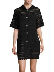 J Valdi Button Down Eyelet Cover Up Black