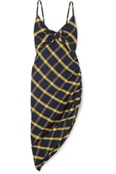 Monse Asymmetric Ruched Checked Brushed Cotton Midi Dress Navy
