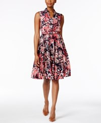 Charter Club Petite Floral Print Shirtdress Only At Macy's Crushed Coral Combo