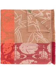 Vivienne Westwood Graffiti Orb Print Scarf Nude And Neutrals