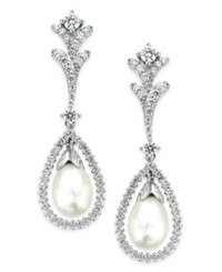Arabella Bridal Cultured Freshwater Pearl 7Mm And Swarovski Zirconia 2 Ct. T.W. Drop Earrings In Sterling Silver