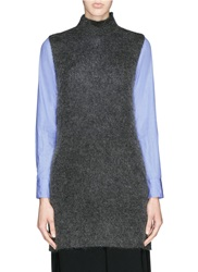 Elizabeth And James Brushed Mohair Knit Mock Turtleneck Tunic Top Grey