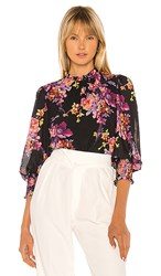 Amanda Uprichard Helene Top In Black. Evening Blossom