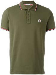 Moncler Striped Trim Polo Shirt Green