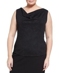 Tahari Asl Plus Embossed Cowl Neck Tank Black