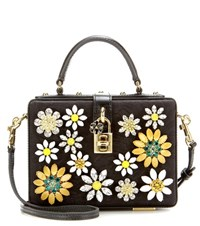 Dolce And Gabbana Dolce Embellished Fabric And Leather Shoulder Bag Black