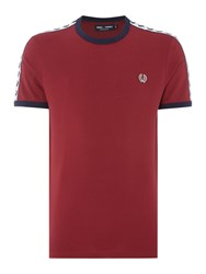 Fred Perry Men's Plain Crew Neck Regular Fit T Shirt Maroon