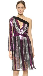 Rodarte Sequin One Shoulder Dress Mauve Purple Silver