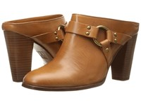 Frye Laurie Harness Mule Tan Smooth Polished Veg High Heels Brown