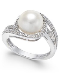Macy's White Cultured Pearl 9Mm And Diamond 1 3 Ct. T.W. Swirl Ring In 14K White Gold