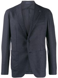 Tagliatore Checked Suit Jacket Blue