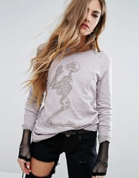 Religion Long Sleeve Top With Embroidered Skeleton Cream