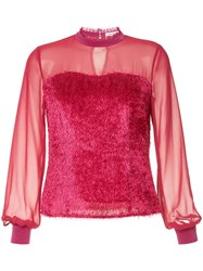 Guild Prime Sheer Fringed Blouse Pink And Purple