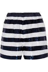 Sandro Party Sequin Embellished Knitted Shorts Blue