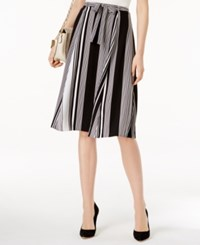 Ny Collection Belted Striped Skirt Black White