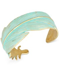 Lucky Brand Gold Tone Patina Feather Cuff Bracelet