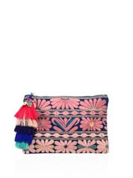 Figue Samoa Floral Embroidered Canvas Pouch Pink Multi