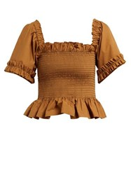 Molly Goddard Sydney Ruffle Trimmed Smocked Cotton Top Brown