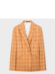 Paul Smith Women's Relaxed Fit Tan Windowpane Check Double Breasted Blazer Brown
