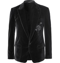 Dolce And Gabbana Grey Embroidered Stretch Velvet Blazer Charcoal