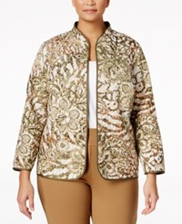 Alfred Dunner Plus Size Cactus Ranch Collection Printed Open Front Jacket Multi