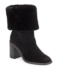 424 Fifth Maicey Shearling Cuff Suede Boots Black