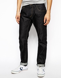 Solid Solid Raw Tapered Jeans With Selvedge Rawdenim