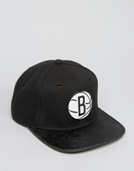 Mitchell And Ness Ultimate Snapback Cap Brooklyn Nets With Textured Leather Visor Black
