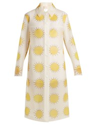 Christopher Kane Sun Print Frosted Rubberised Coat Yellow Multi