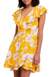 Free People French Quarter Print Wrap Minidress Yellow