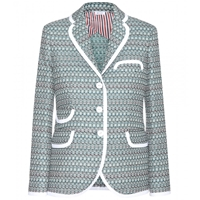 Thom Browne Tweed Blazer Light Green Melange With White